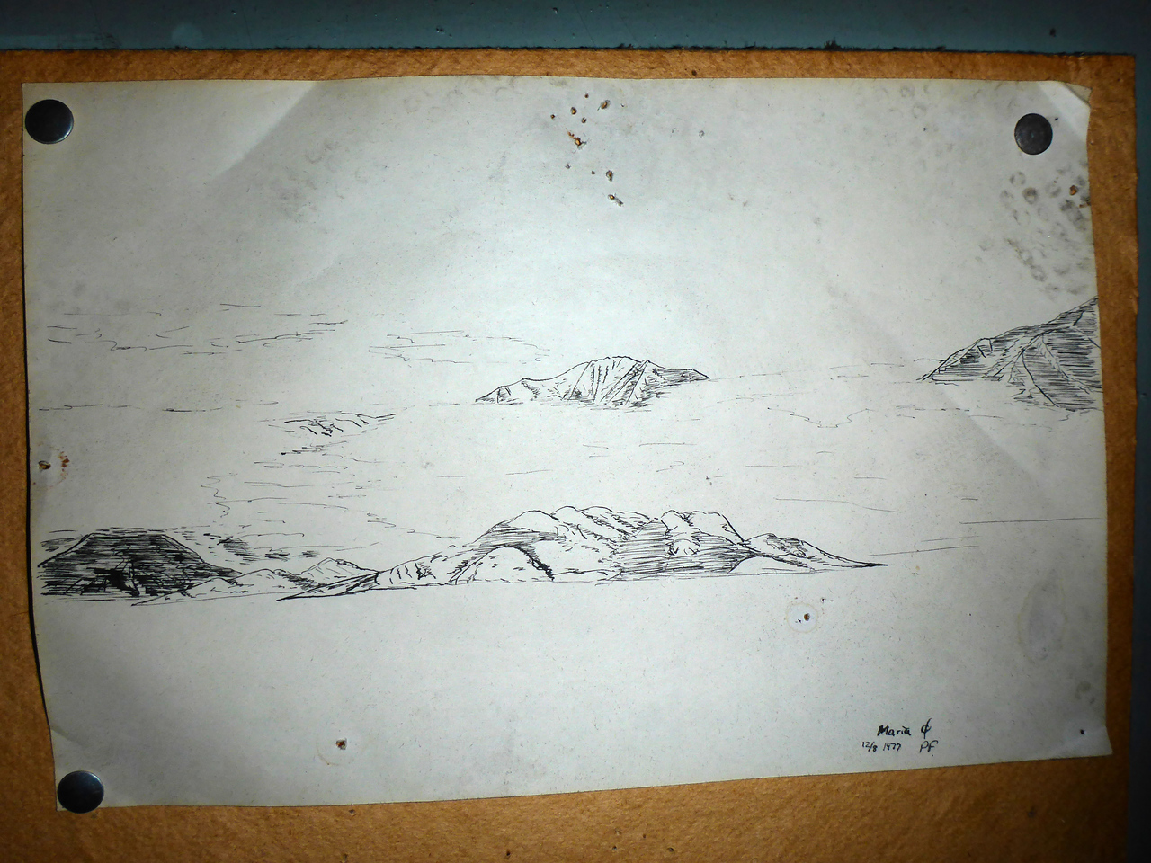 Hand Drawing of nearby scenary dated 1977