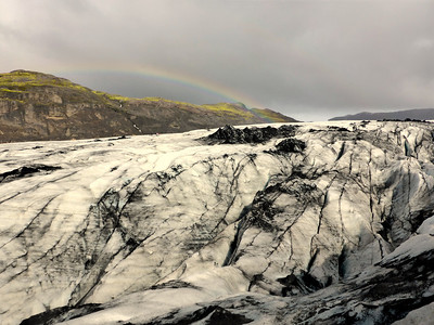 Rainbow over glacier