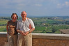 Bruce and Connie in San Gimignano overlooking the Tuscan hills.