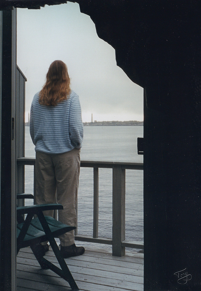 """Judy bids farewell to Thatcher Island.  We had a lovely breakfast, and slowly rode home, stopping at the <a href=""""http://www.ipswichma.com/clambox/"""" target=""""_blank"""">Clam Box</a> in Ipswich for lunch and some of the best fried clams we had ever tasted. (Bicycling does wonders for the appetite.)  :)"""