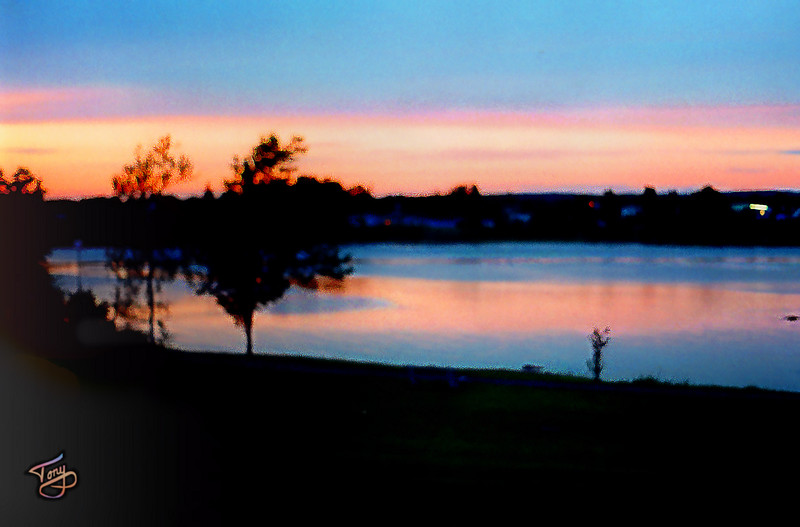 Calais, Maine - Sunset over St. Stephen, NB - <br /> <br /> view from our motel window