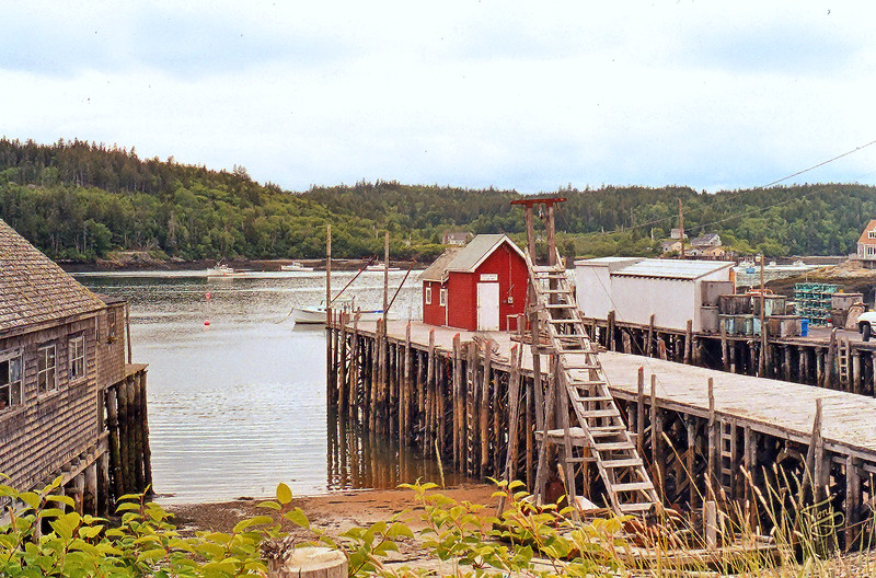 Cutler, Maine - Harbor 1 - <br /> <br /> The very high pilings are necessitated by the region's twenty-foot tides, among the highest in the world.