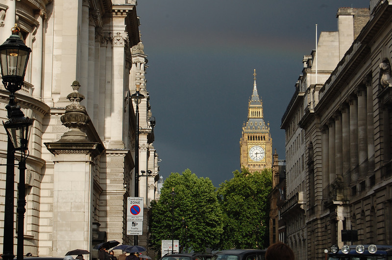 It rained off and on yesterday and we were lucky to see this rainbow above Big Ben.