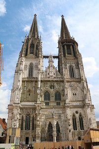"St. Peter's Cathedral in Regensburg.  It dates to the 1300's, but was not ""finished"" until 1520.  The towers, however, were only added in 1859-69."