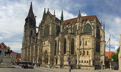 A panorama of the side of St. Peter's cathedral in Regensburg.
