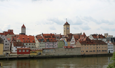 Pretty Regensburg from the Stone Bridge.  The clock tower is part of the City Hall or Rathaus.