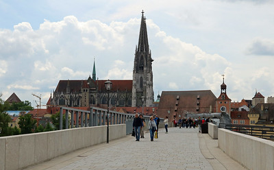 Arriving in Regensburg, Germany, we crossed the old Stone Bridge which was in a state of major restoration.  It crosses the Danube and dates back to the 12th century.  Until the 1930's, it was the city's only bridge across the Danube!