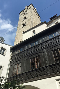 A tower and courtyard of a wealthy family of the middle ages.