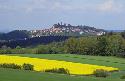 An old fortified hill town, Leuchtenberg, Germany with the remains of a castle.
