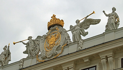 The royal crest at the Hofburg Palace.