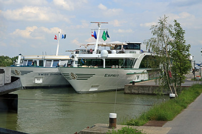 Our boat, the Esprit, docked along the Danube in Vienna.