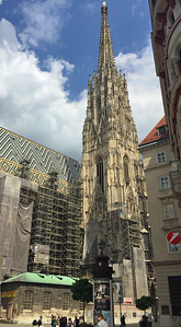 Standing at 136 metres (446 ft) tall, St. Stephen's Cathedral's massive south tower is its highest point and a dominant feature of the Vienna skyline. Its construction lasted 65 years, from 1368 to 1433. During the Siege of Vienna in 1529 and again during the Battle of Vienna in 1683, it served as the main observation and command post for the defense of the walled city.