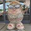 mosaic Mrs. Potato Head sculpture outside the airport lounge