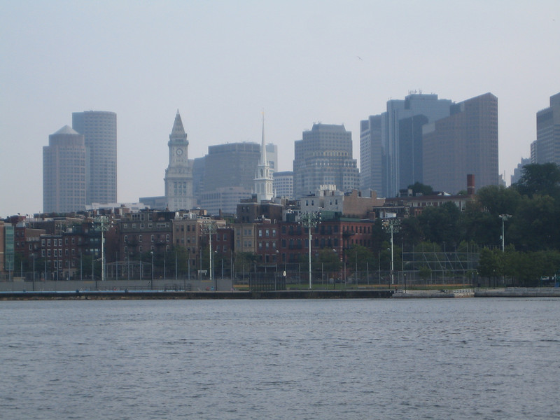 View of Boston from the Charlestown Navy Yard.  The steeple of the Old North Church is visible right in the middle.