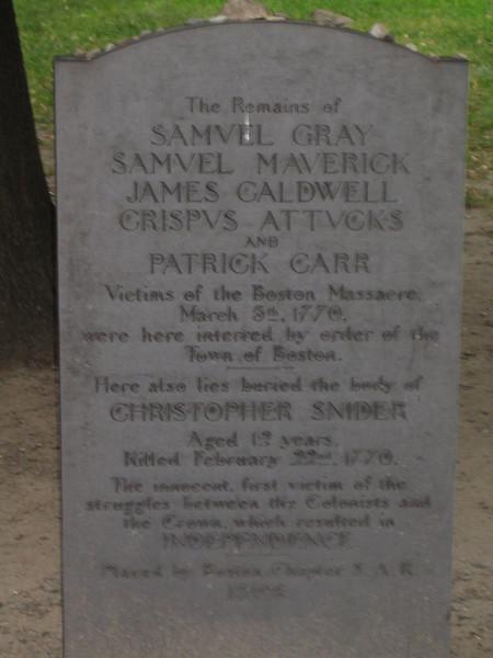 Gravestone of the victims of the Boston Massacre