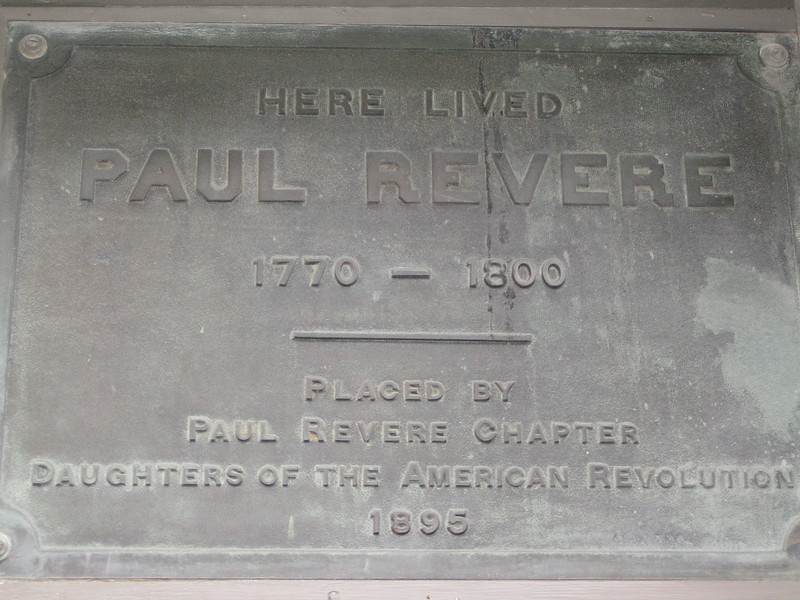Plaque on Paul Rever's House