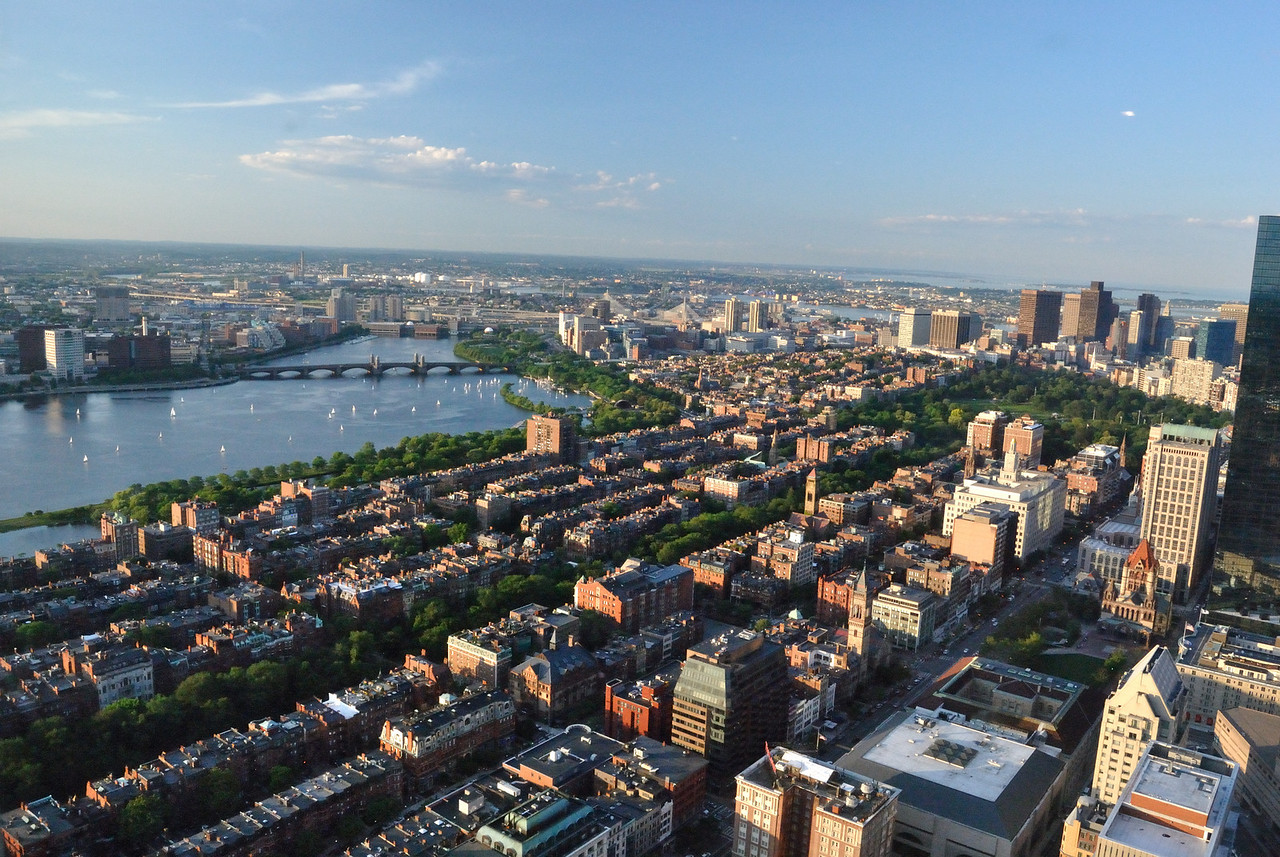 View of Charles River and Back Bay area of Boston from the top of the Prudential.
