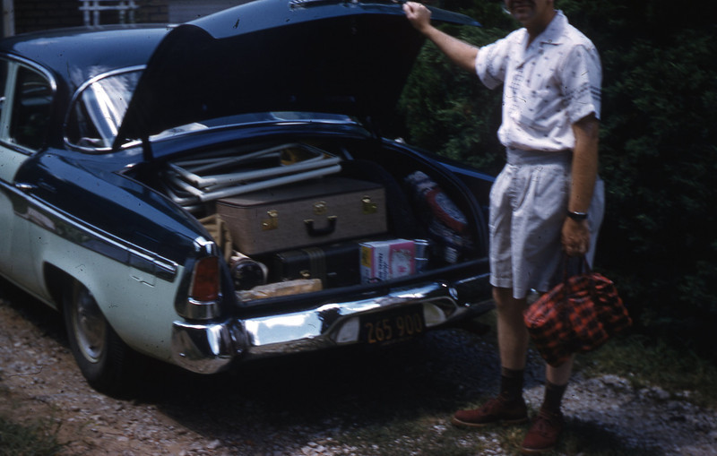 G. A. Shaffer is shown loading our 1955 Studebaker prior to our leaving for Branson, MO and the Ozarks.