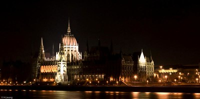 House of Parliament in Budapest at night.