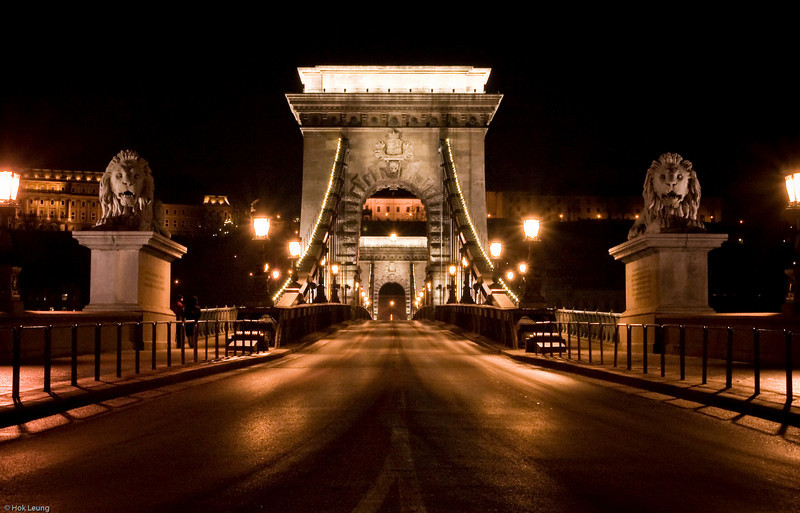 Széchenyi Chain Bridge.  Opened in 1849 and is of the more popular landmarks of Budapest.  It was the first permanent bridge across the Danube.  The original bridge was destroyed during World War II.   It was then rebuilt and re-opened in 1949.