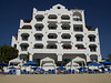 The southern part of our hotel viewed from the beach, now those top rooms were probably the best in the house!