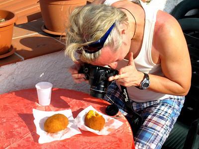 Professional Rice Ball Photographer photoing his Subject Rice Balls !