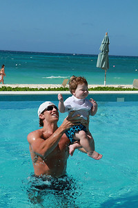 Keith holding Luke 1-3-2012 in the Cayman Islands.