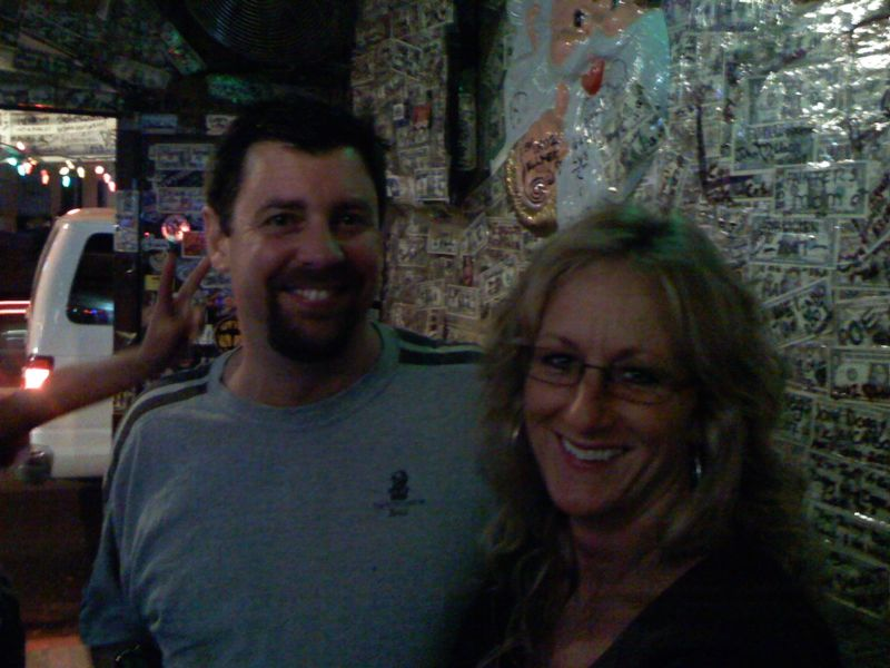 Scott and Christa.  Their first time in Cabo.  Scott has traveled the world to places I'm sure I don't know, yet this is his frist time in Cabo.  obviously enjoying it!  Christa is one of the sweetest and kindest humans I have ever met!  We are at Slim's Elbow Room where we are enjoying a few sips of tequilla.