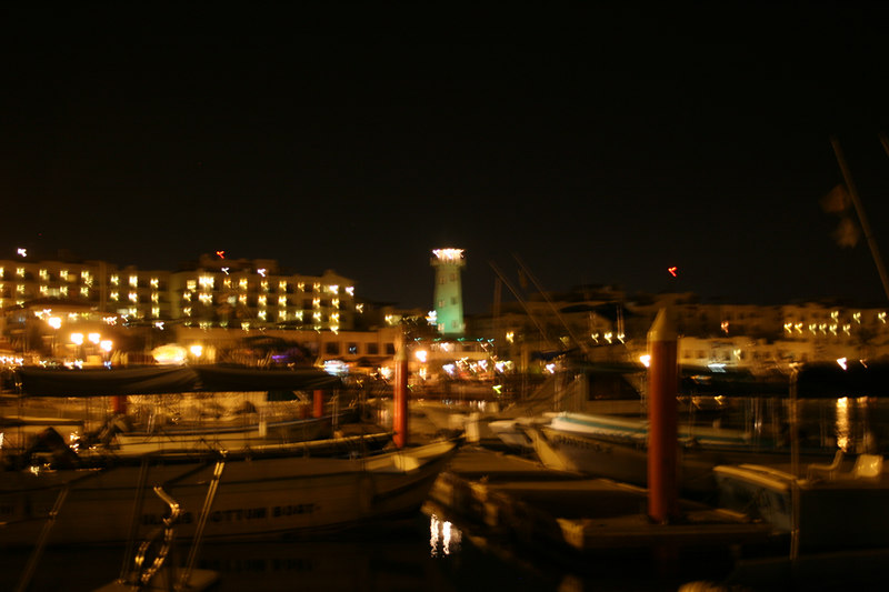 The marina in Cabo San Lucas at night.
