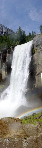 This is a vertical stitch of Vernal Falls in Yosemite, taken from the Mist Trail. It's surreal standing in the rain under a clear blue sky.<br /> <br /> It's a pretty big stitch, 4 shots tall I believe. PanoramaFactory did a really great job auto-stitching this, particularly with all that moving water.