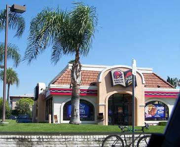 Saturday: Just when traffic subsides, we pass a Taco Bell/Pizza Hut.
