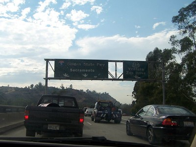 Friday:  The drive into Burbank.  We hit some minor traffic.  The guy in front of us has a giant can of Coke in the truckbed.