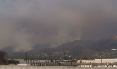 Friday:  The drive into Burbank.  The fires up in the hills as seen from the freeway.