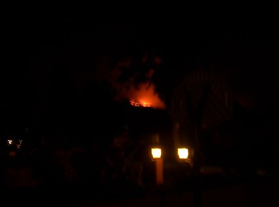 Friday: The fires up in the hills as seen from his porch.