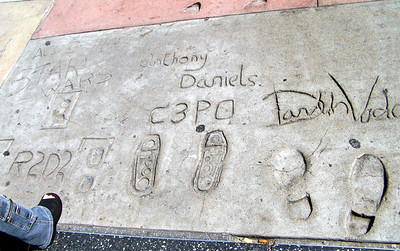 Hollywood: Hand and foot prints.