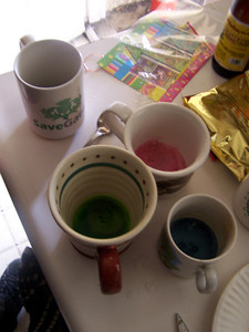 Setting up to dye Easter eggs.