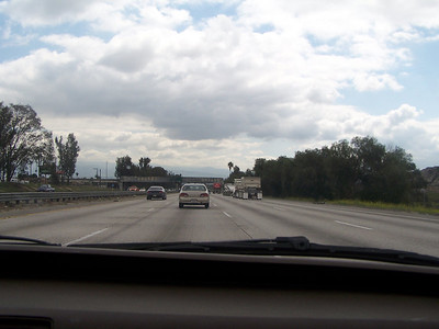 Driving on the freeway.