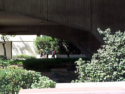 Monday: Tried to get a shot of the fountain at which part of the Cell was filmed.  The hedges got in my way.