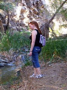 "Indian Canyon: Carolyn gazes at a ""creek""."