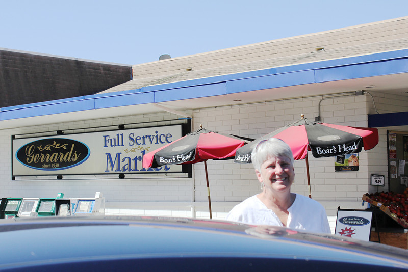 June 25, 2012 (Gerrard's Market [on West Cypress Avenue] / Redlands, San Bernardino County, California) -- Mary Anne in front of the grocery market where we shopped from 1975-79