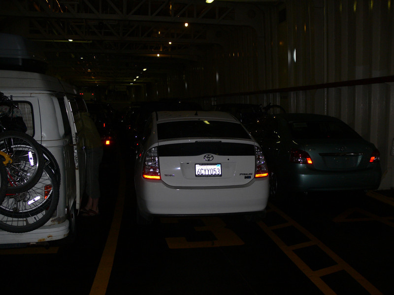 The Prius is loaded on the ferry for the 23 mile 1 1/2 hour trip from Victoria Canada to Port Angeles in the United States.
