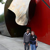 Nancy and Keith in front ot the Experience Music Project adjacent to the Space Needle.