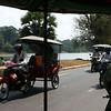 Tuk-tuks at Angkor Wat moat