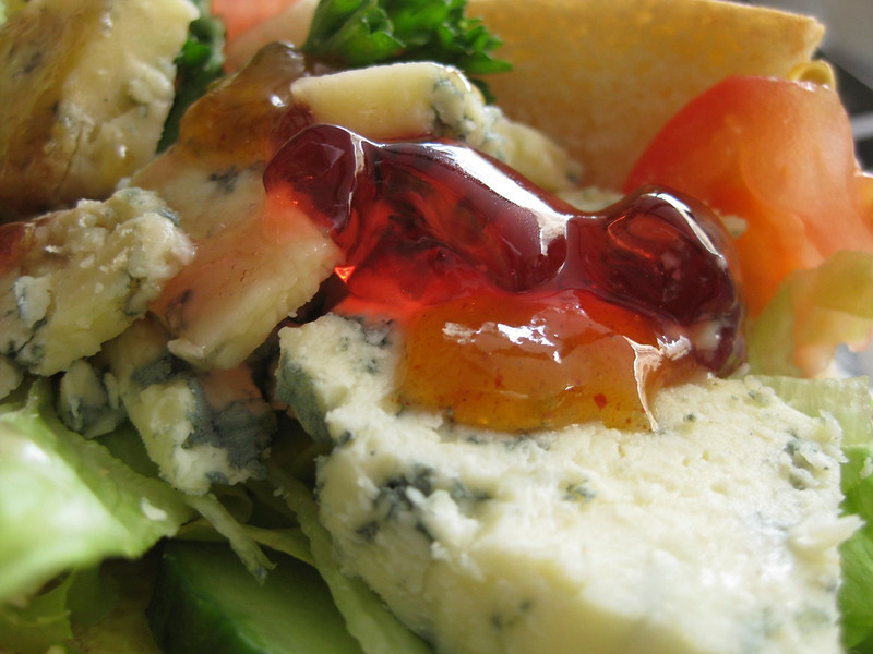 My sandwich, cranberry jelly, blue cheese, tomatoe and salad