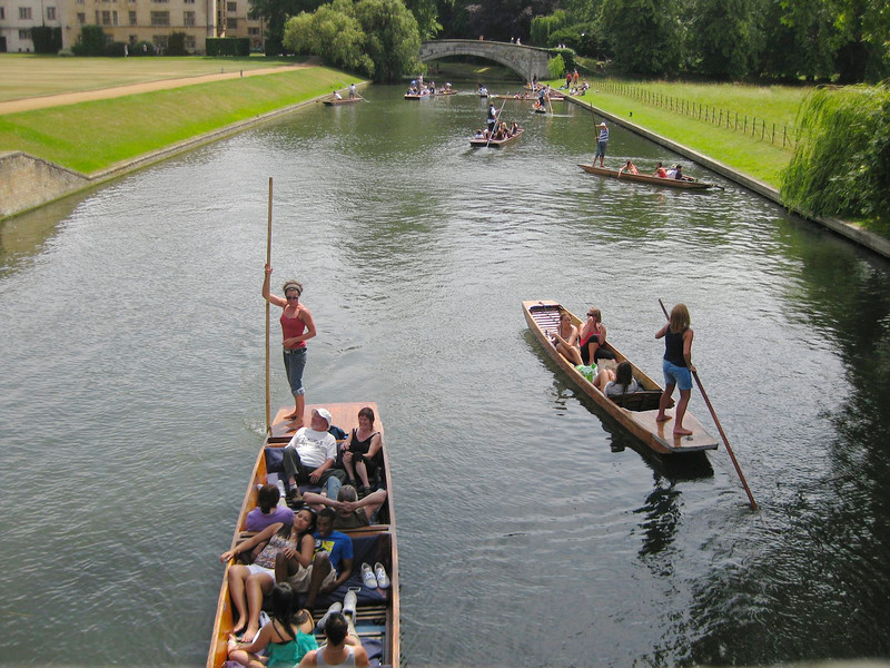 Punting on the river. Great past time for people, students and tourists.