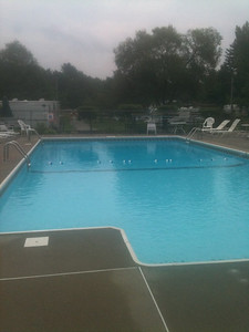 The pool at the campgrounds (George is thrilled to swim in a pool he doesn't need to fix!)
