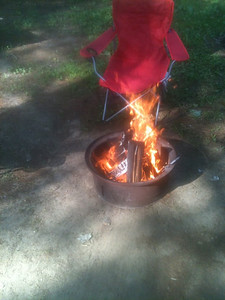No, the chair is not actually on fire.