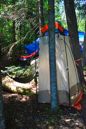 Changing room and a few hammocks.
