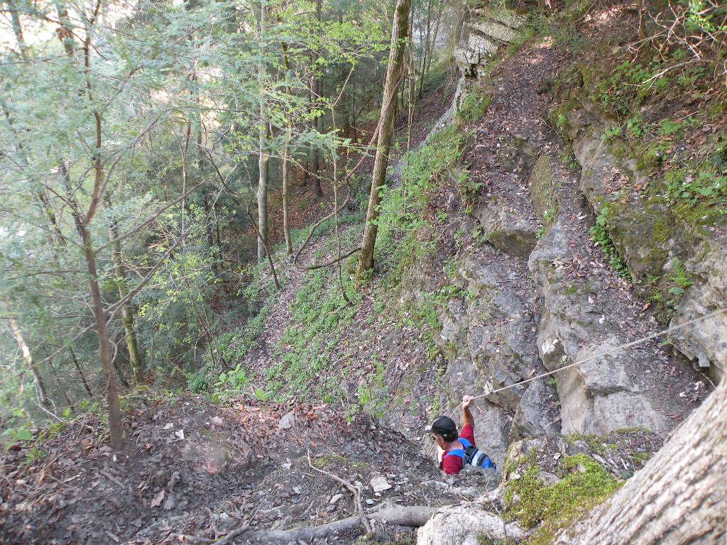 Watching Kenny climb down