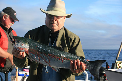 Darold catches the first Coho salmon